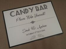 Handmade Personnalisé Vintage Art Déco Candy Buffet love is Sweet Treats SIGNE