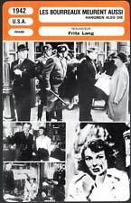 LES BOURREAUX MEURENT AUSSI - Fritz Lang(Fiche Cinéma) 1942 - Hangmen Also Die !