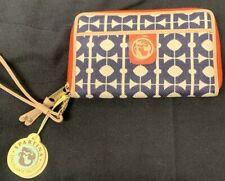 New Spartina 449 Hilton Head Wrist Wallet Wristlet Linen & Leather 815609 NWT