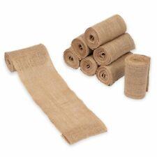 "Burlap Fabric Roll - 8-Pack 3.9"" Brown Burlap Ribbon for Crafts, 2 Yards Each"