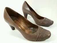 Clarks womens brown leather mid heel shoes uk 6