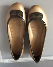 CROCS Beige Brown Bow Slip On Ballerina Slip On Size 9