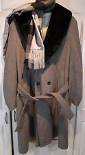 STYLISH ESPRIT BY CAMPUS WOOL COAT JACKET PLUS 2 SCARVES 44L MADE USA GRAY BLUE
