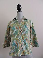 Lands End No Iron Pinpoint Oxford Button Down Shirt Green Paisley Career size 4P