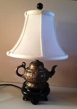 Petite Silver Metal Oriental Teapot Lamp With Lined Shade And Dark Gray  Finial