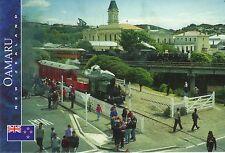 Postkarte: historische Lokomotiven in Oamaru am Hafen, Südinsel, Neuseeland