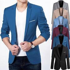 Men's Slim Fit One Button Formal Business Casual Suit Blazer Coat Jacket Tops