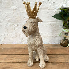 Vintage Fox Terrier Dog King Crown Resin Animal Sculpture Figure Ornament Gift
