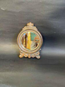 "Vintage Italian Small Oval Mirror Metal Ornament Frame Wall Decorative 6""X4"""