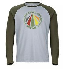 Marmot Men's Long Sleeve Tee Storm Grey/Forest Night Size L