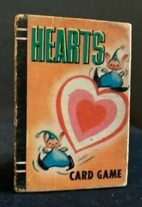 """MINIATURE """"HEARTS"""" CARD GAME  BY WHITMAN 1951 WITH ALL 44 CARDS"""