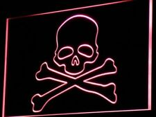 i766-r Death's Head Skull Bone Display Neon Light Sign