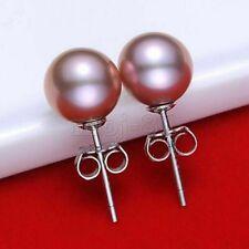 Fashion 10mm Natural Purple South Sea Shell Pearl 925 Silver Stud Earrings