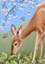 """ACEO Art Print miniature deer flowers 2.5"""" x 3.5"""" signed numbered limited editio"""