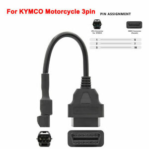 OBD2 Motorcycle Cable For KYMCO 3 Pin Plug Diagnostic Cable to 16 pin Adapter