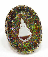 Soho ® anillo vintage Bohemia vidrio 1970´s Buda Pink Orange irisierend mano de bronce