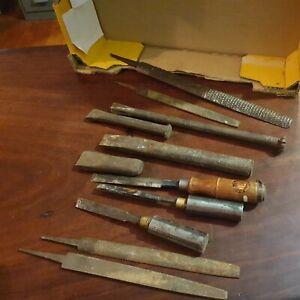 Vintage Chisels x7 (wood & brick) files x4 Tools used