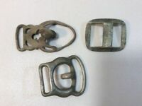 Vintage Leather Horse Harness Buckles Lot Of 3 Brass And Steel E8