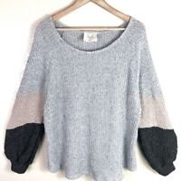 Fantastic Fawn Women's M Medium Gray Tan Blocked Chunky Knit Oversized Sweater