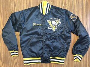 Vintage Starter Pittsburgh Penguins NHL Men's Medium Blk Satin Bomber Jacket USA