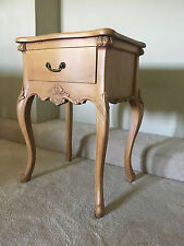 Hardwood Carved French Shabby Chic Ornate Honey Cabinet Bedside Side Table