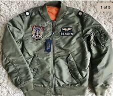 POLO RALPH LAUREN Mens REVERSIBLE Military Flight Bomber Jacket Green Orange M.