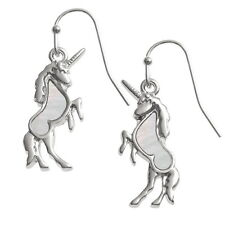 White Mother of Pearl Shell Unicorn Silver Dangle Hook Earrings