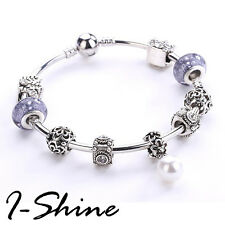 I-Shine Pandora Hand Made Crystal Pendan Alloy Silver Plating Bracelet