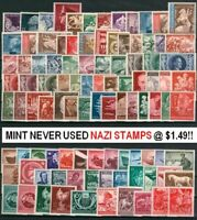 20 DIFFERENT RARE MINT UNUSED NAZI STAMPS HALF w HITLER or SWAST! SUPER VARIETY!
