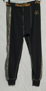 Men's Realtree Black and Camo Fleece Thermal Bottoms Size Large 36/38 Rn:53166