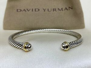 $395 David Yurman Sterling Silver 925 4mm Cable Classics Bracelet with 18K Gold.