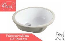"19-1/2"" White Ceramic Porcelain Round Shape Bathroom Vanity Undermount Sink"
