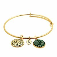 Chrysalis Bangle Bracelet with Green Swarovski Crystals in 14K Gold over Brass