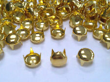 CraftbuddyUS 100pc 7mm Gold Round Stud DIY Fashion Goth Biker Bag Leather