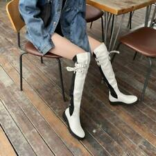 Fashion Women's Round Toe Flat Over The Knee Boots Buckle Strap Shoes Size