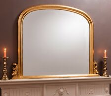 """Toronto Gold Leaf Arched Top Dome Overmantle Fireplace Wall Mirror  47"""" x 37"""""""