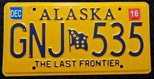 "Nummerschild USA Alaska ""THE LAST FRONTIER"" mit Flagge ""GNJ"". S-3786."