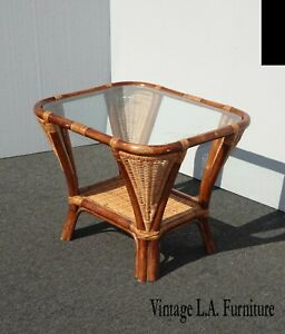 Vintage Coastal Bamboo Rattan Weave Glass Top Side End Table