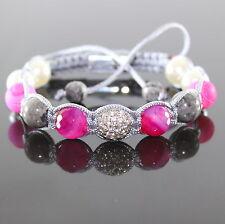 Damen Rutilquarz Perlen Armband Zirkon Spacer Shamballa verstellbar für Frauen