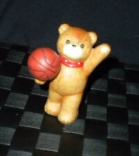 "Enesco 1982 Porcelain Lucy & Me ""Basketball Player"" Teddy Bear Figurine"