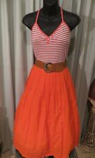 VINTAGE Style 50'S ~ Stripe TOP/ Orange SKIRT/BELT COMBO SET * Sz 10 * ROCK *