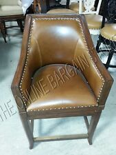 """Frontgate Sheldon COUNTER HEIGHT Bar Chair Wicker Barstool Leather Seagrass 24"""""""