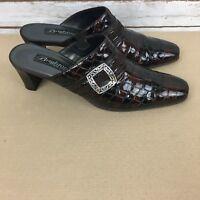 Brighton Womens Size 7.5 M Brown Croc Design Patent Leather Slip On Heels