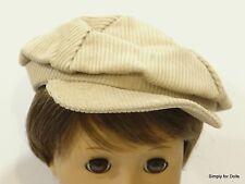 "TAN Corduroy NEWSBOY DOLL CAP HAT fits 18"" AMERICAN GIRL ""BOY"" Doll Clothes"