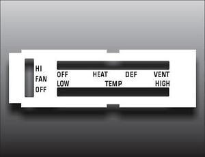1970-1976 Dodge Dart Non-AC White Heater Control Switch Overlay HVAC