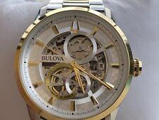 Bulova 98A214 Sutton Automatic Silver Skeleton Dial Two-tone Men's Watch