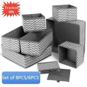 Set of 8/6 PCS Canvas Storage Box Divide Wardrobe Organiser Drawer Socks Tidy