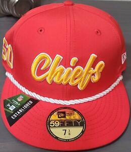NFL Kansas City Chiefs NFL 2019 On-Field Pro Light Version 59FIFTY Rope Hat NEW