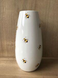 Tall Ceramic Glazed Vase Bumble Bee Design - Flowers Decorative Home