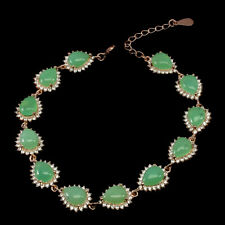 Unheated Pear Chrysoprase 8x6mm Cz Rose Gold Plate 925 Sterling Silver Bracelet